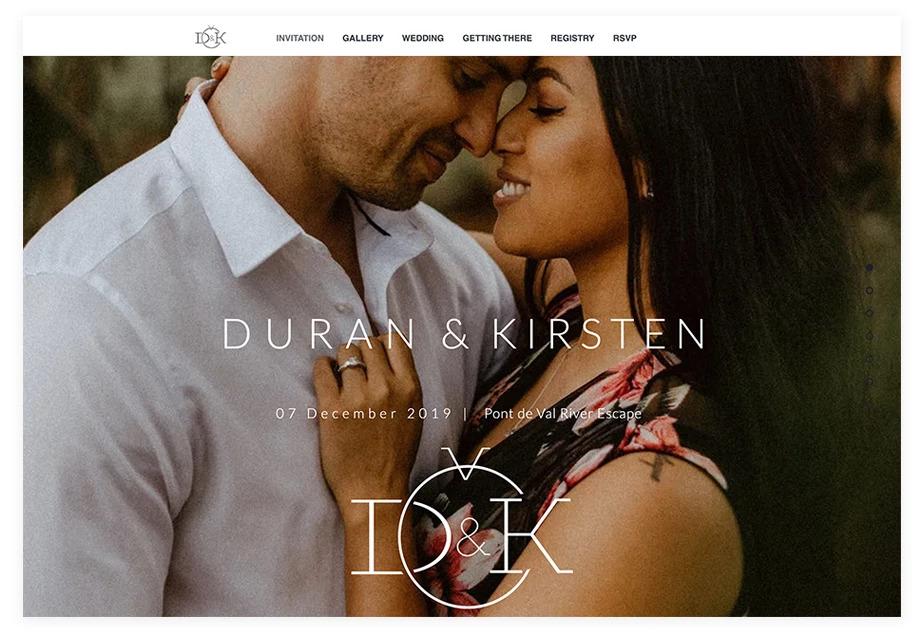 mẫu website wedding Duran and Kirsten