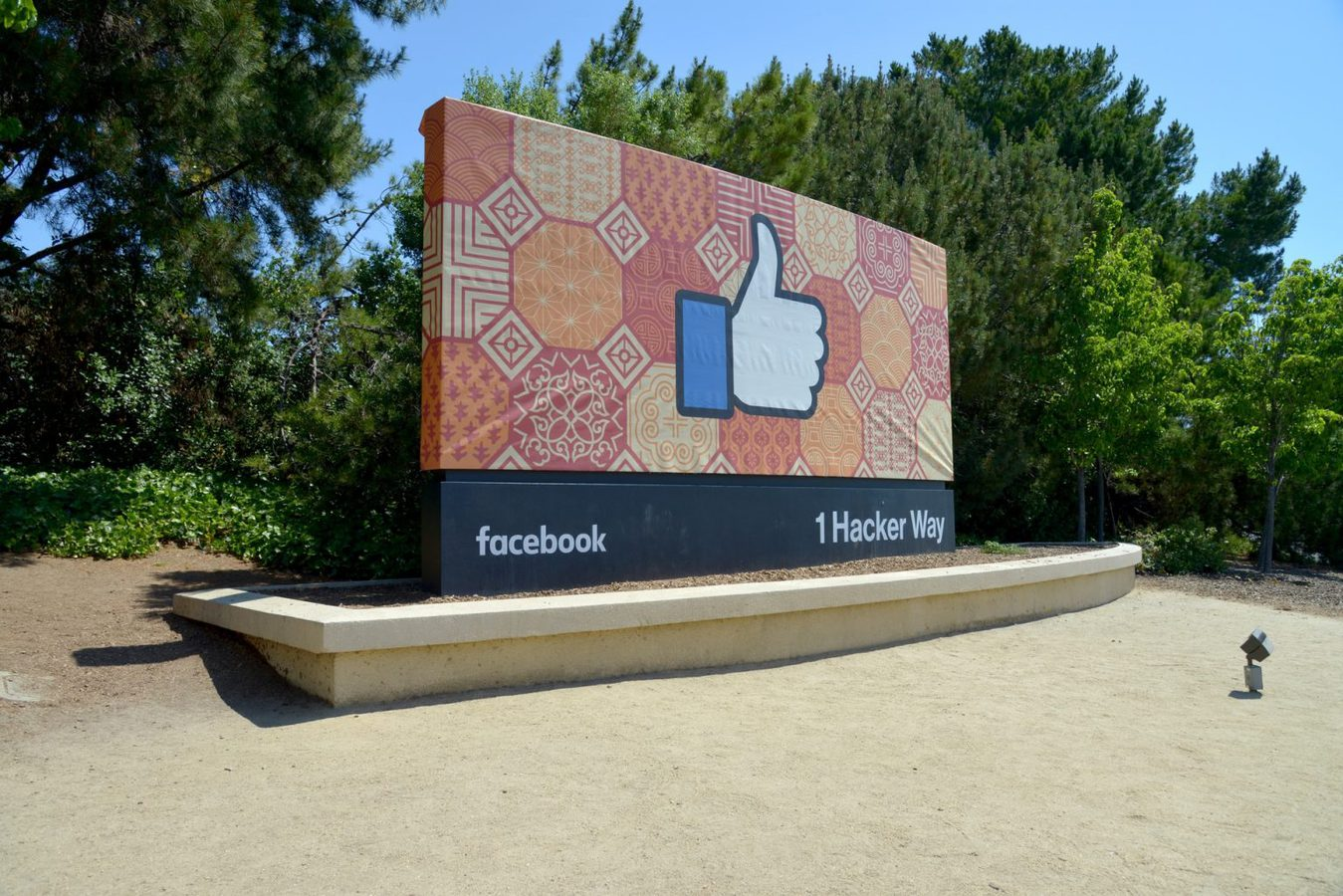 Facebook thumb sign on a street outside