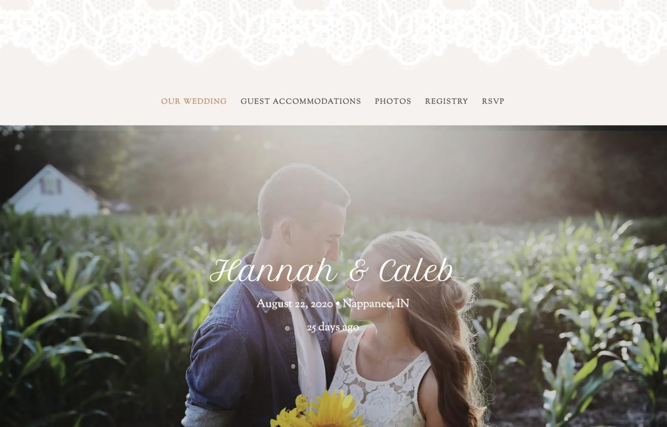 ví dụ về website wedding hannah and caleb