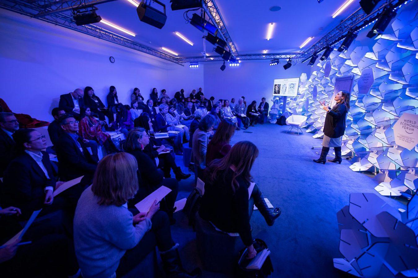 Inside a blue seminar room