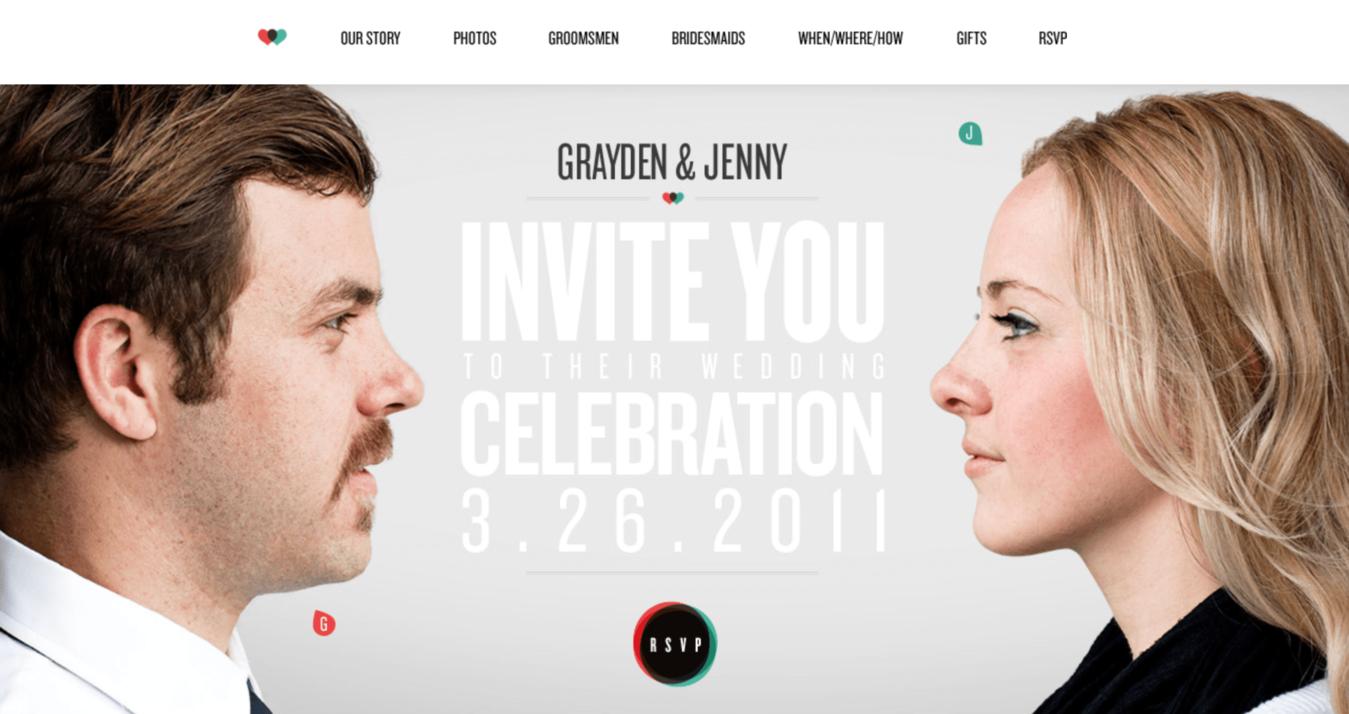 ví dụ về website wedding jenny và grayden