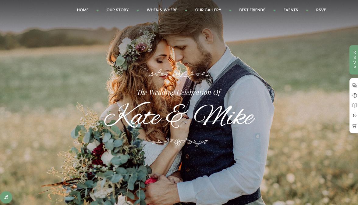 mẫu website wedding Kate and Mike