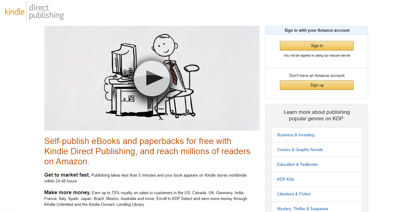 Landing page Kindle