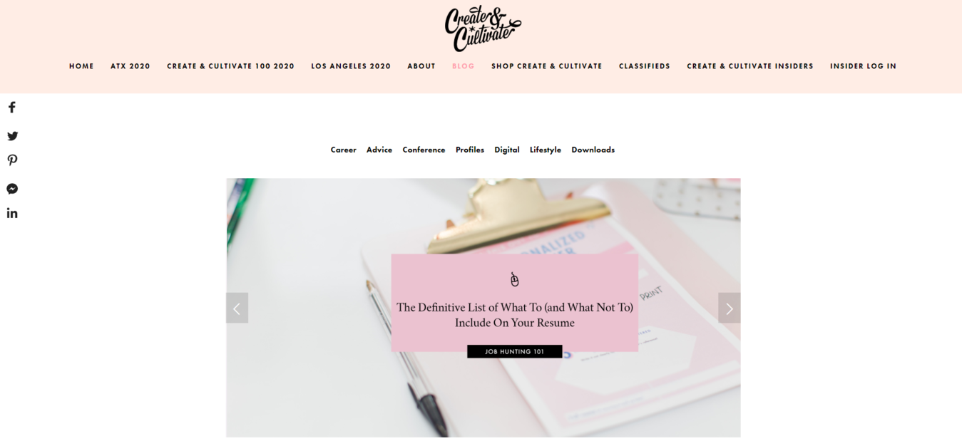 Landing page Create Cultivate