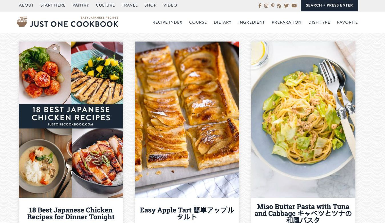 Landing page Just One Cookbook