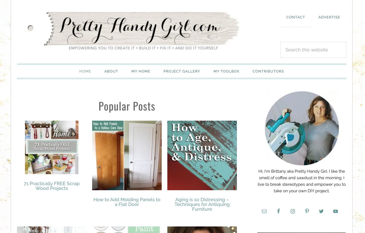 Contoh blog inspiratif: Pretty Handy Girl