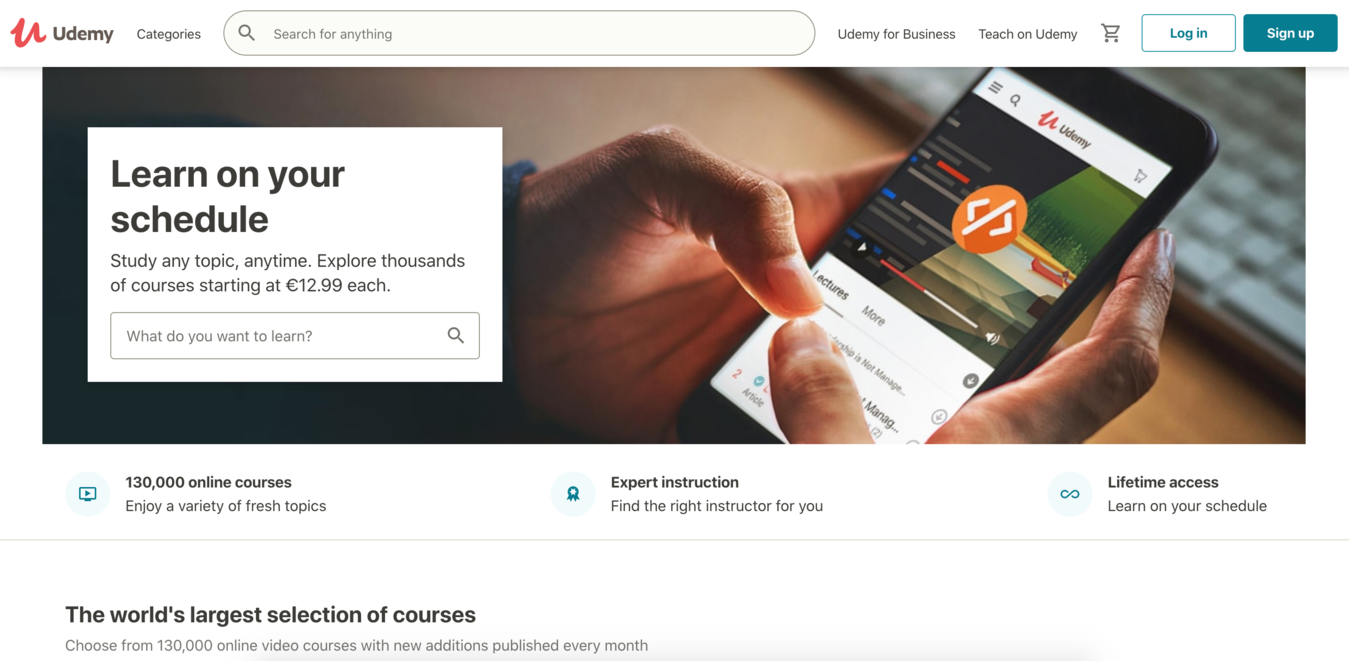 Screenshot beranda Udemy