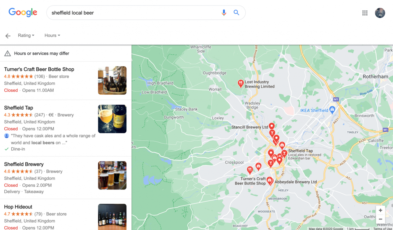 Local beer in Sheffield on Google
