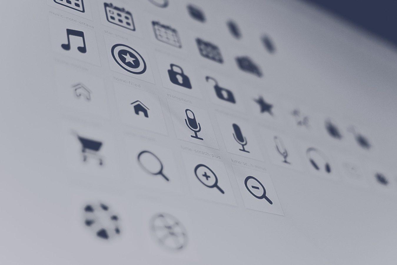 Simbol dan ikon hitam putih