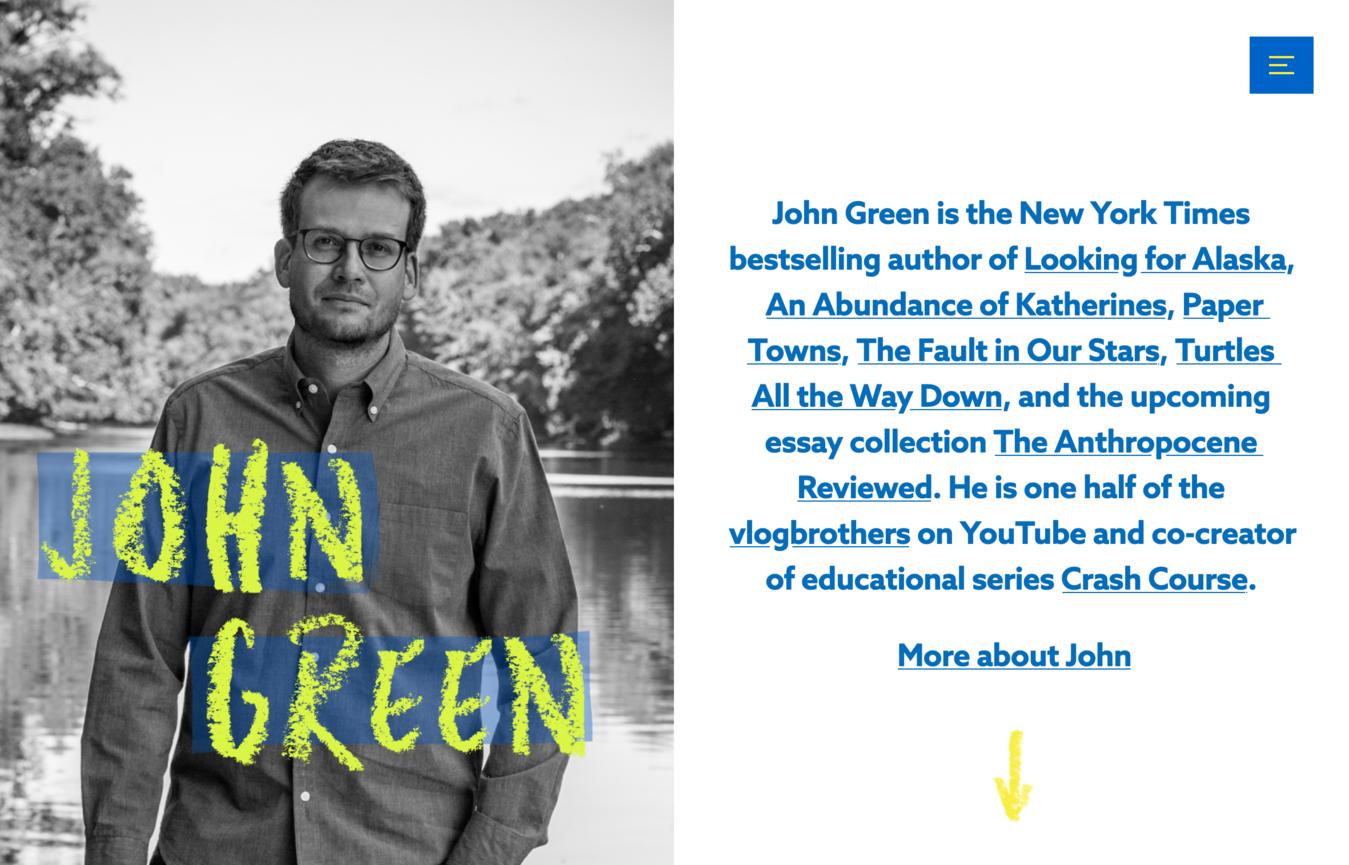 Sito portfolio John Green