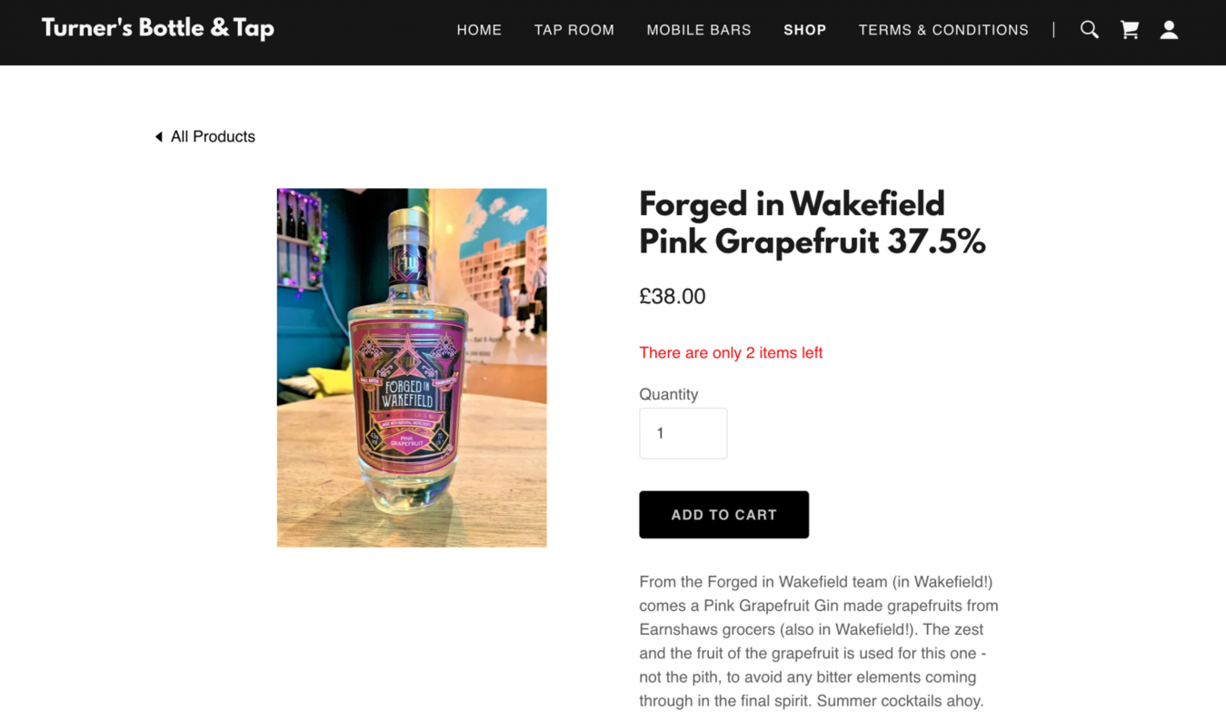Turner's Bottle and Tap gin product page