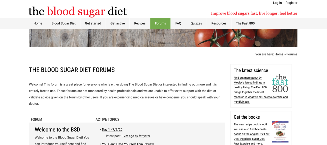 Screenshot beranda website The Blood Sugar Diet