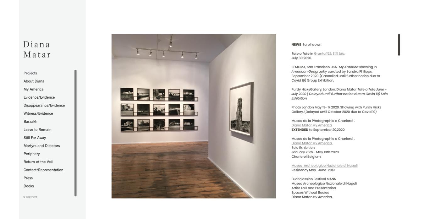 Diana Matar portfolio website