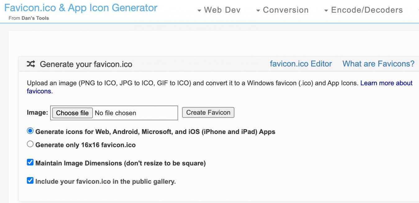 mejores generadores de favicon: favicon-generator.org