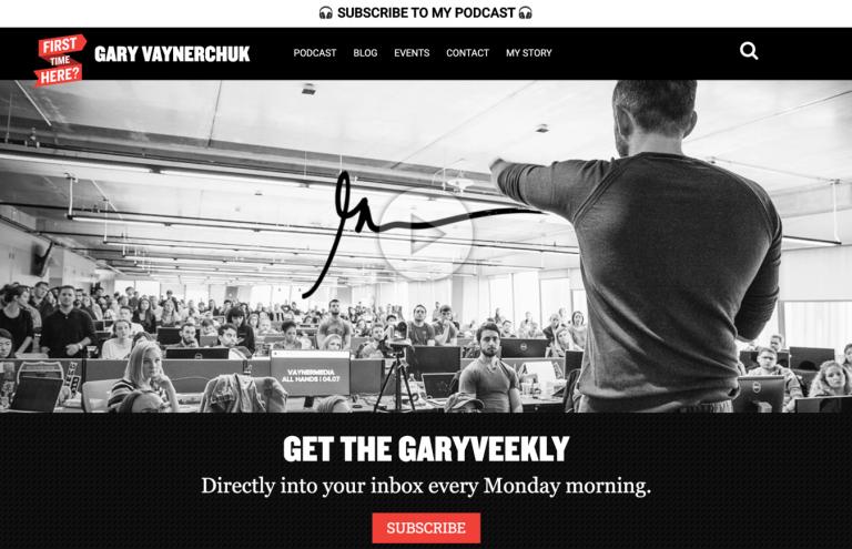 Site de portfólio de Gary Vaynerchuk