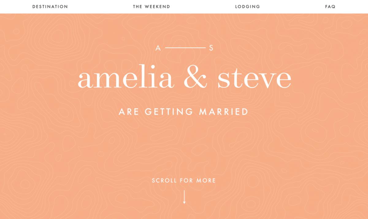 Site de Casamento do Casal  Amelia e Steve