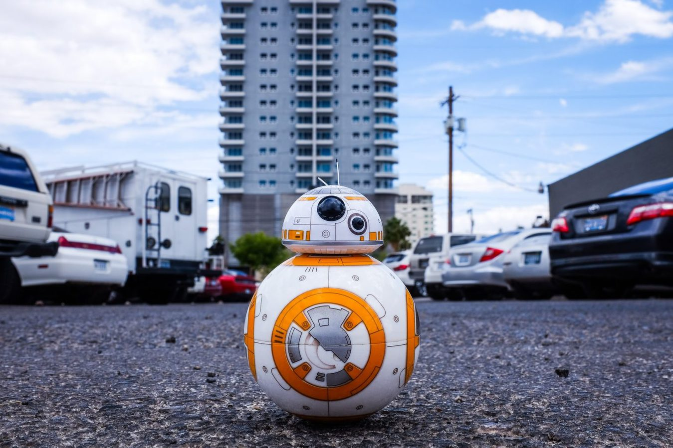 BB8 robot in a parking lot
