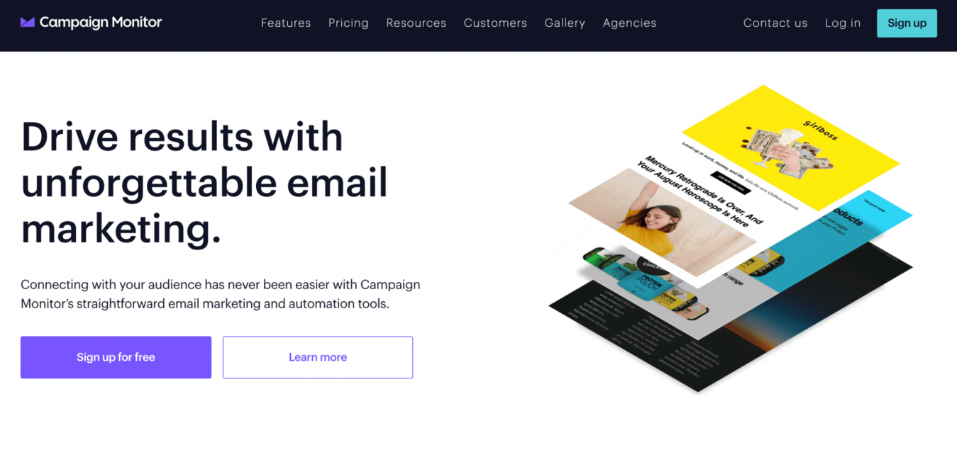 Campain Monitor landing page