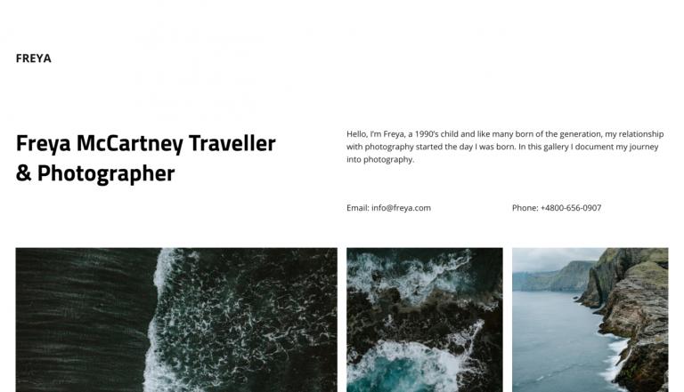 Site de portfólio de fotografias de viagem de Freya McCartney