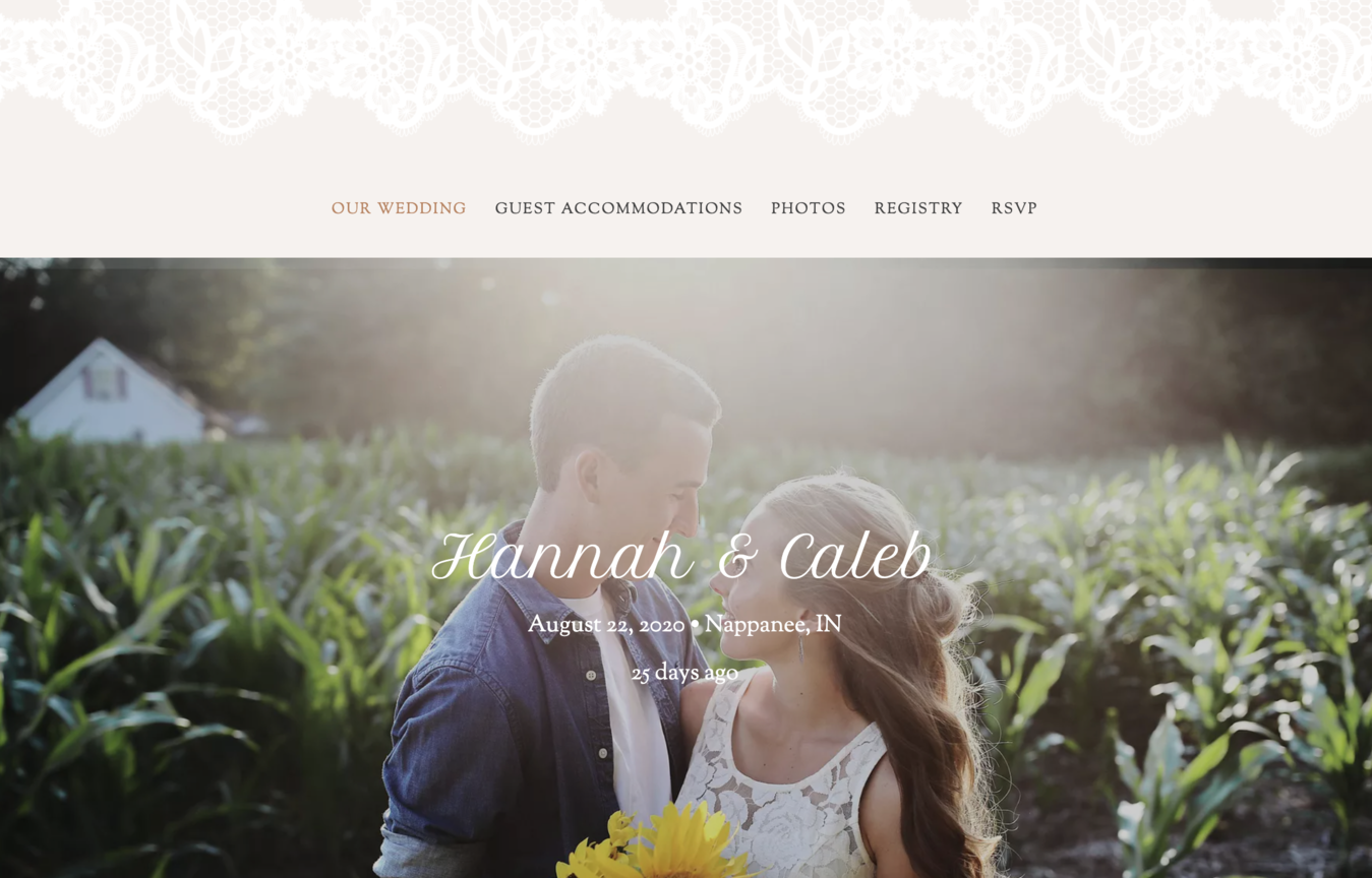 Hannah en Caleb's trouw website