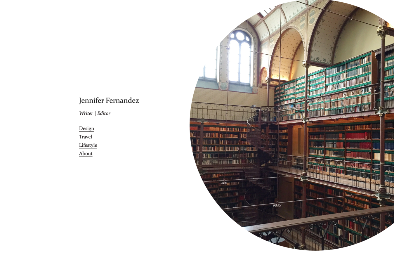 Contoh website portfolio Jennifer Fernandez