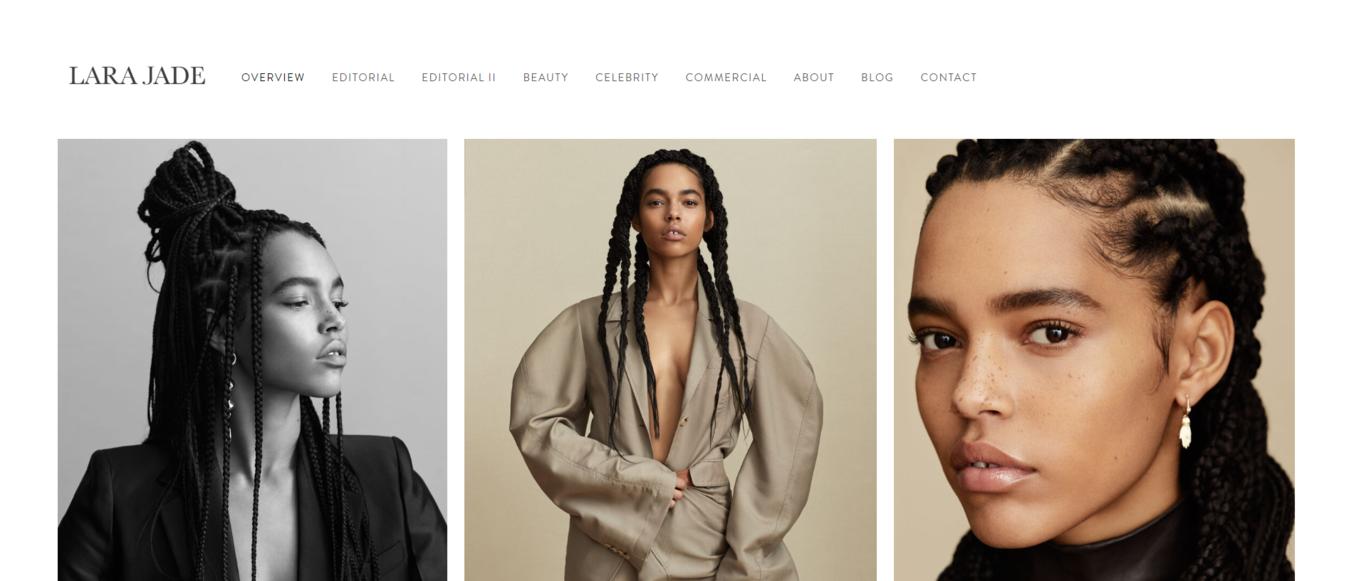 Ví dụ về web ảnh mẫu của Lara Jade
