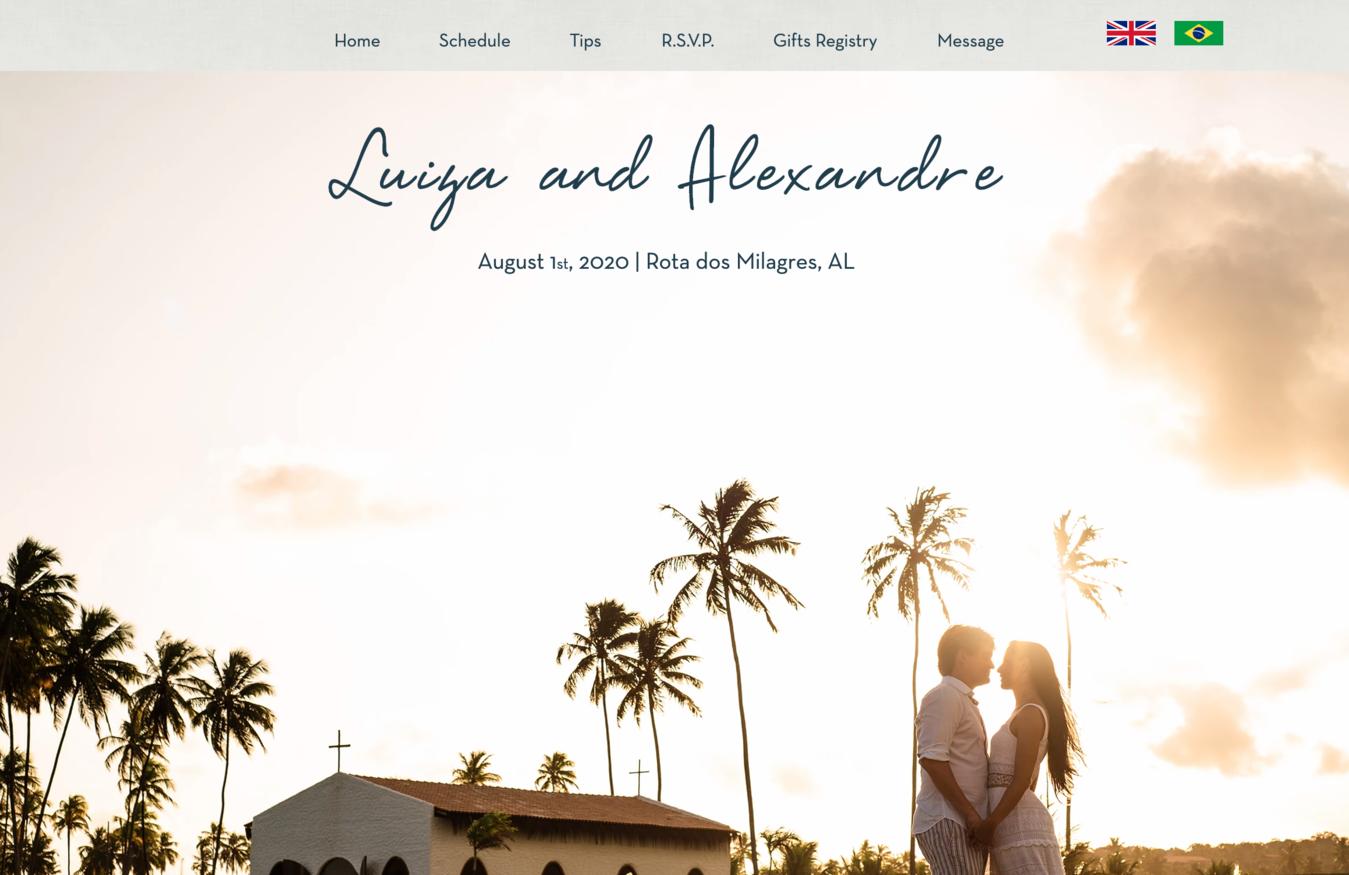 Luiza en Alexandre's trouw website