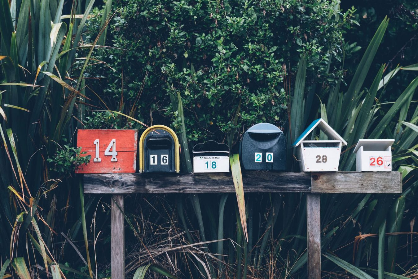 Mail boxes outside in front of a green bush