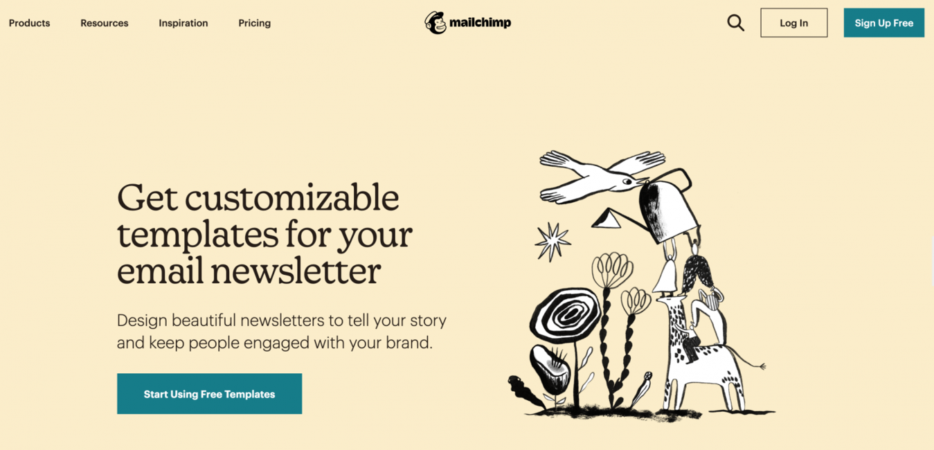 MailChimp newsletter landing page