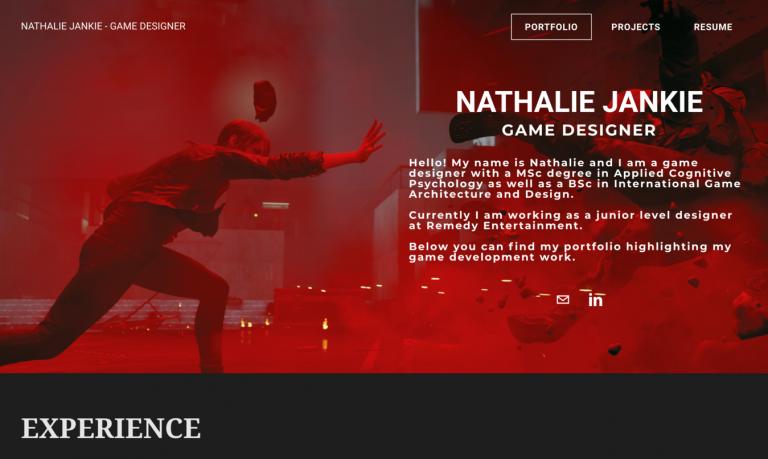 Site de portfólio de Nathalie Jankie