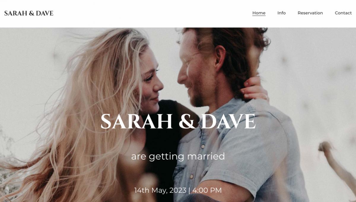 Site de casamento de Sarah e Dave