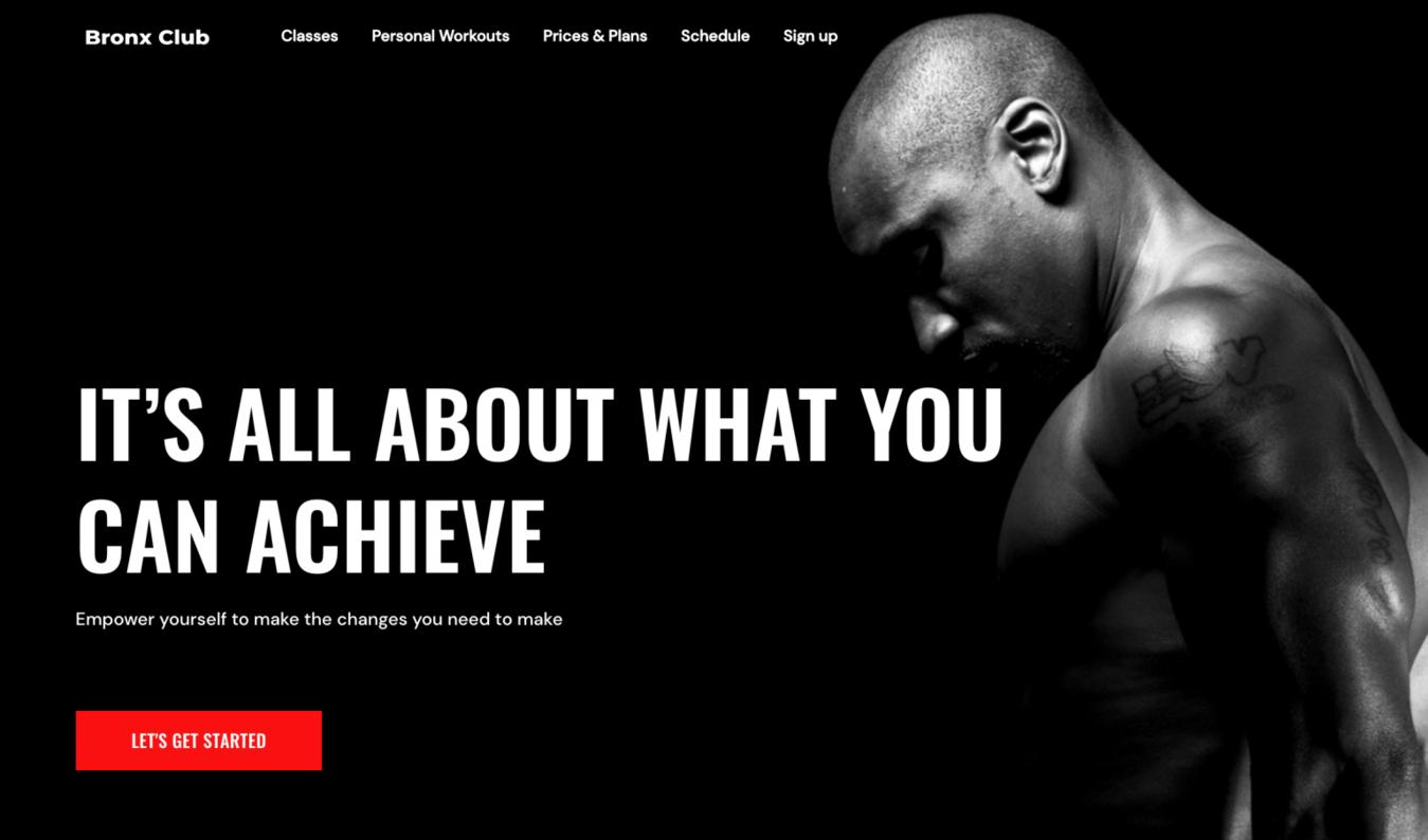 Zyro Bronx website landing page