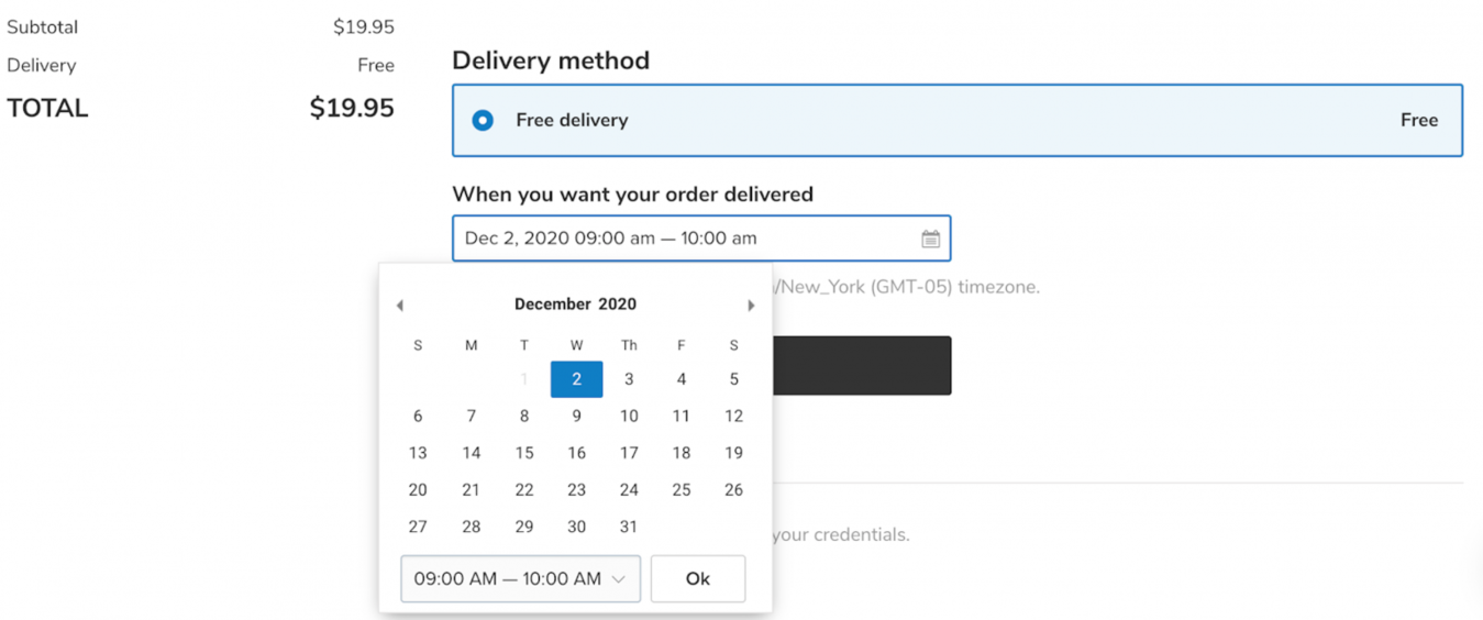 Zyro delivery time picker eCommerce