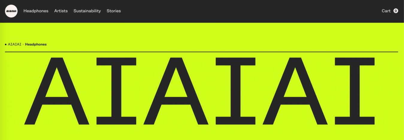 Site minimalista AIAIAI Audio
