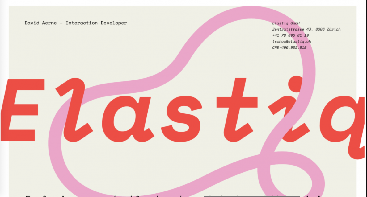 Site minimalista com elementos desenhados à mão Elastiq
