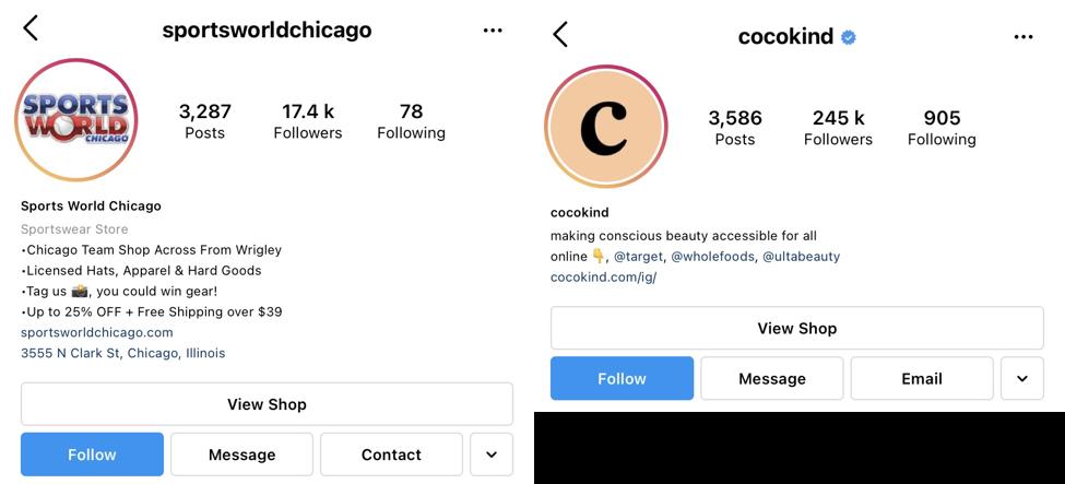 Capturas de pantalla de la biografía de Instagram