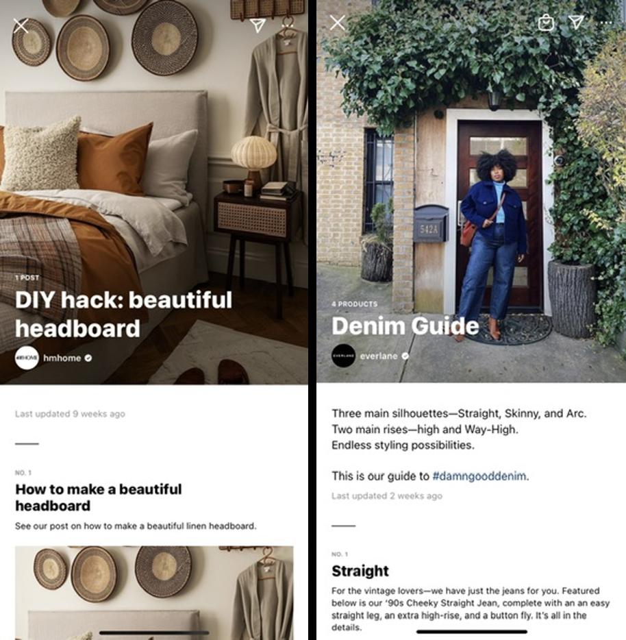 Capturas de pantalla de la Guía de Instagram