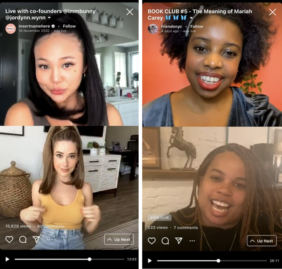 Capturas de pantalla de Instagram Live
