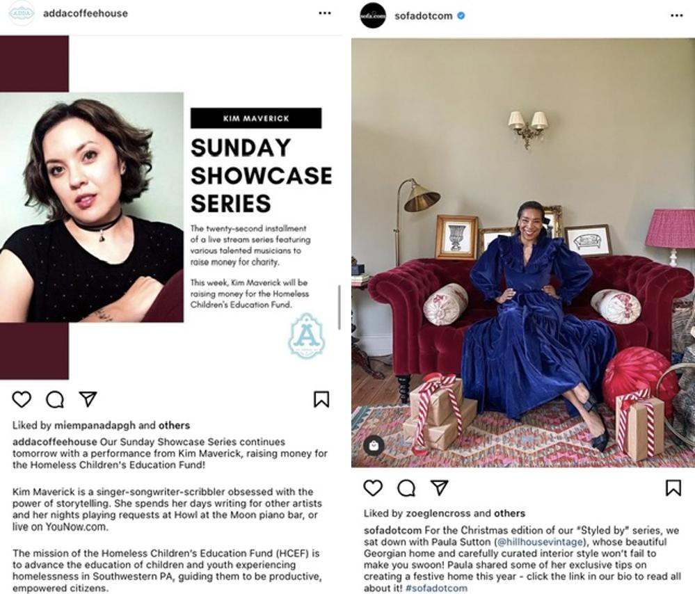 Capturas de pantalla de la serie de Instagram