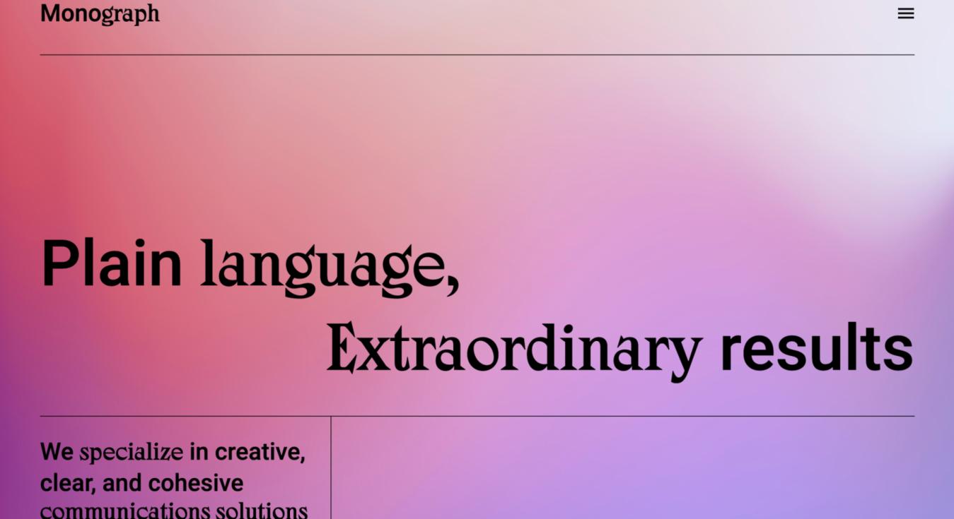 Monograph Sito Design Semplice Colore Sfumato