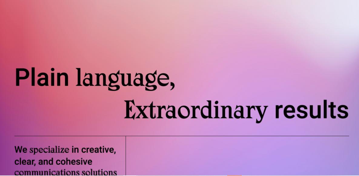 Site simples com gradiente de cores Monograph