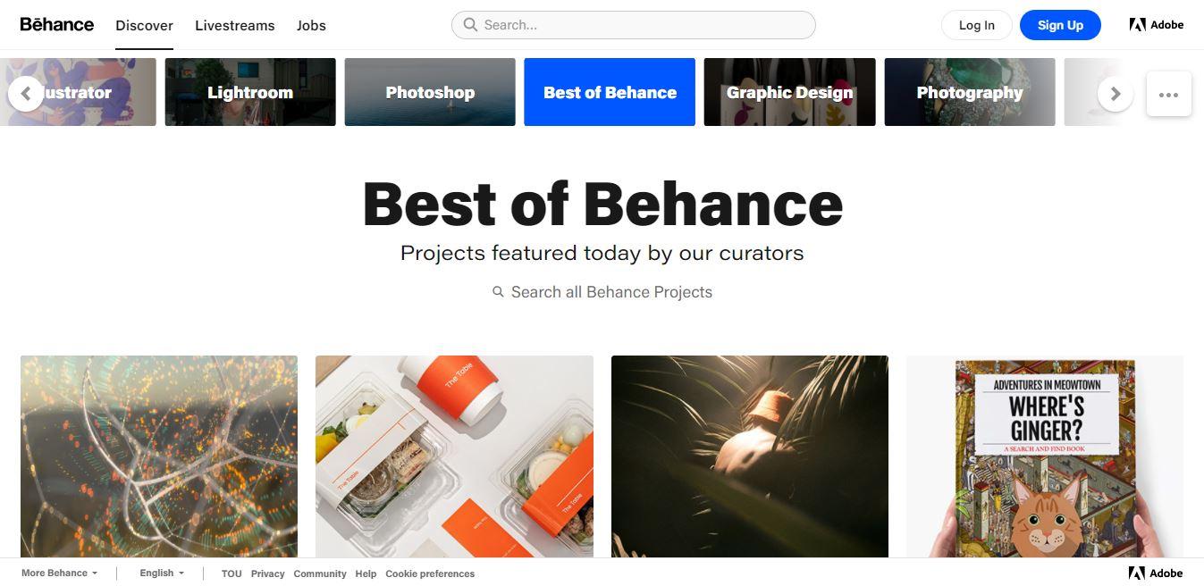 Page de découverte de Behance