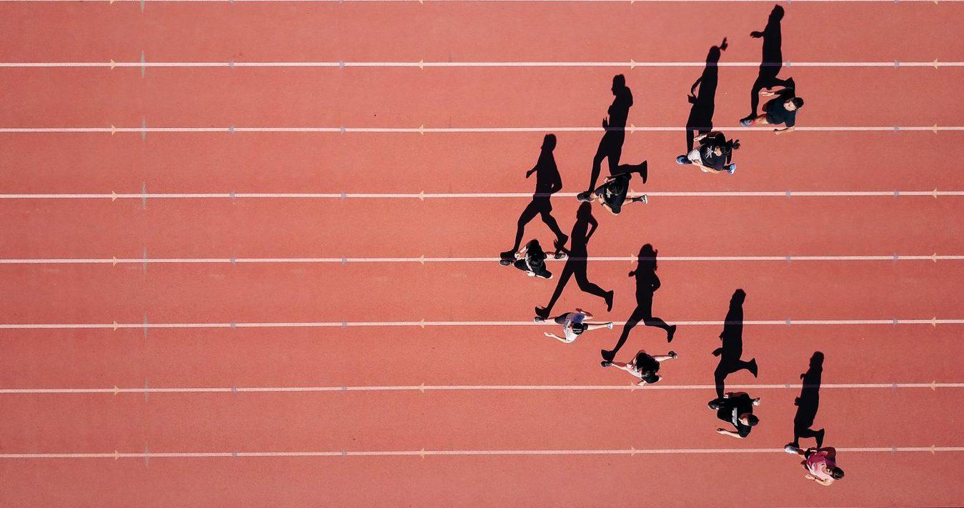 birds eye view of sprint race