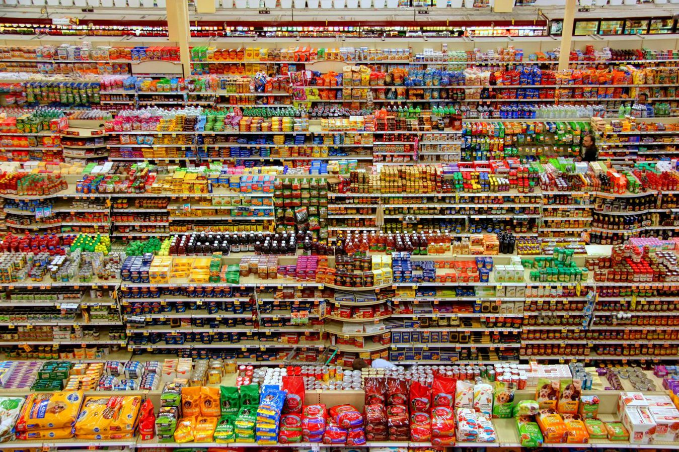 grocery store shelves from above