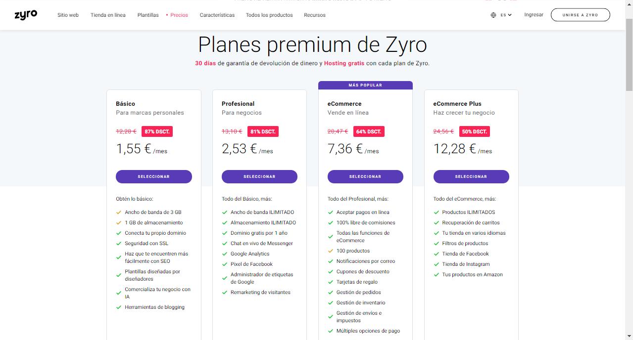Planes y precios de Zyro