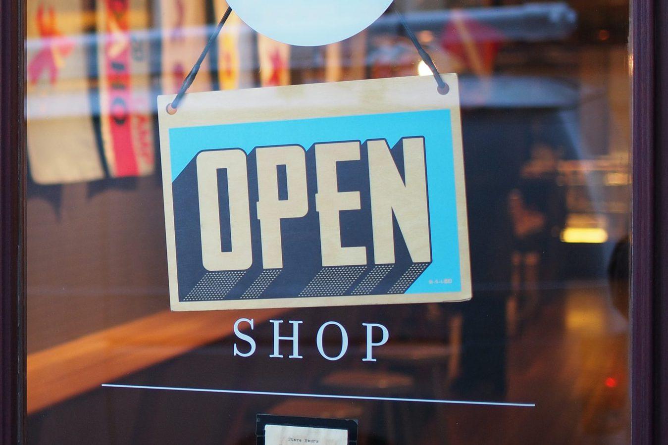 open sign on shop door