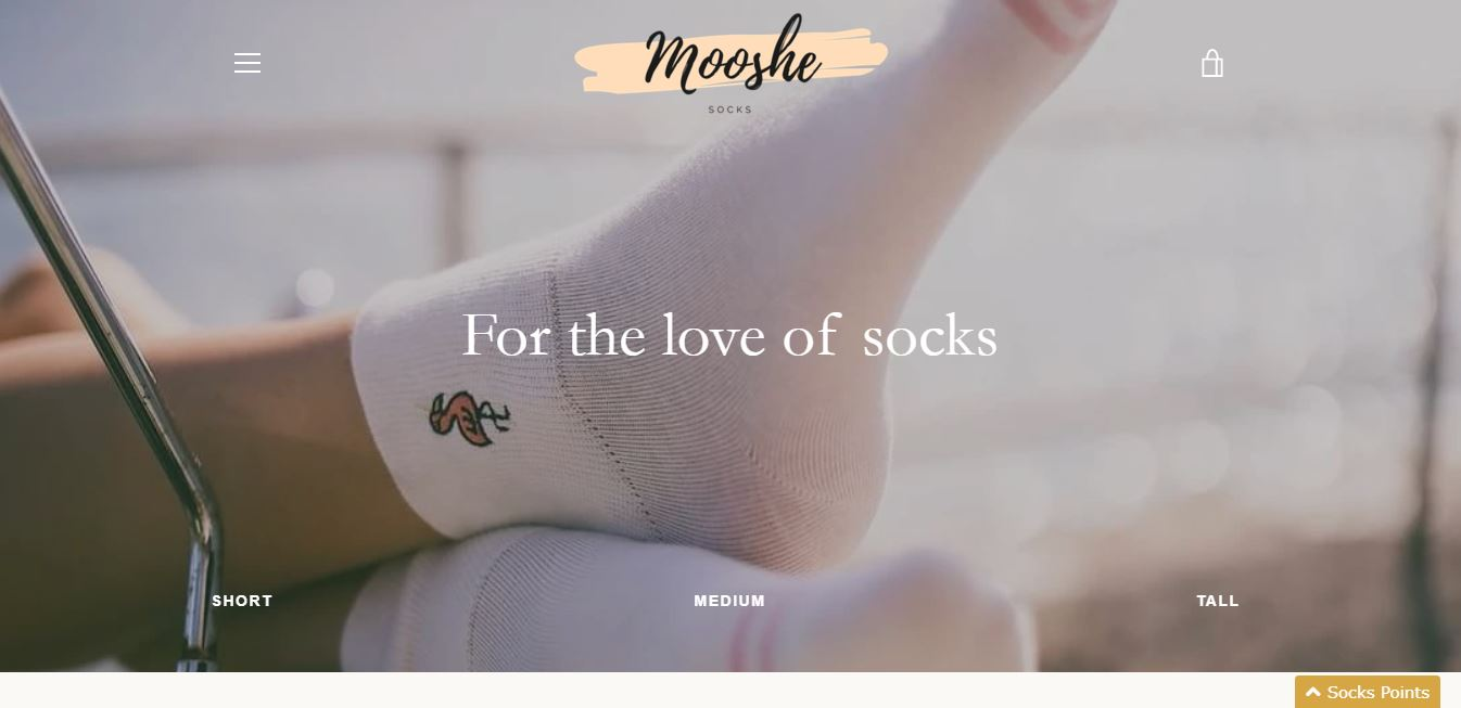 mooshe socks website homepage