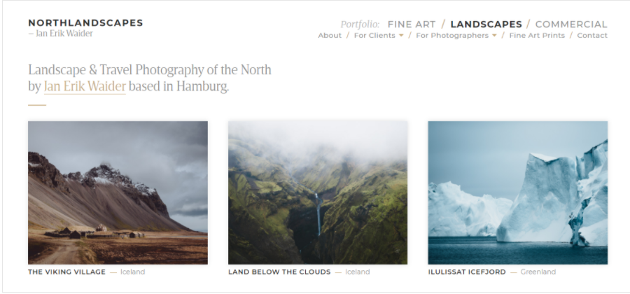 Northlandscapes, un portfolio fotografico che utilizza il layout della griglia di Instagram