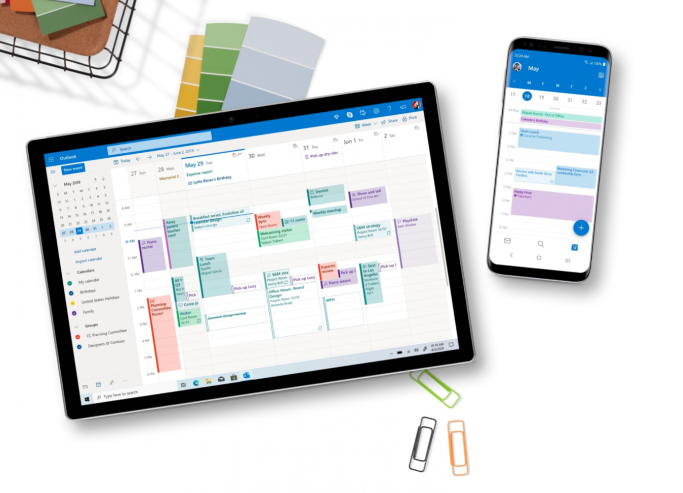 Microsoft Office and Outlook mockup