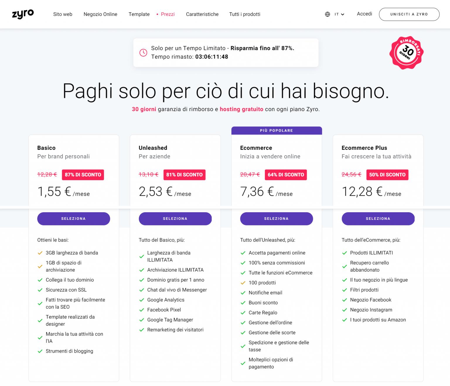 Prezzi Zyro